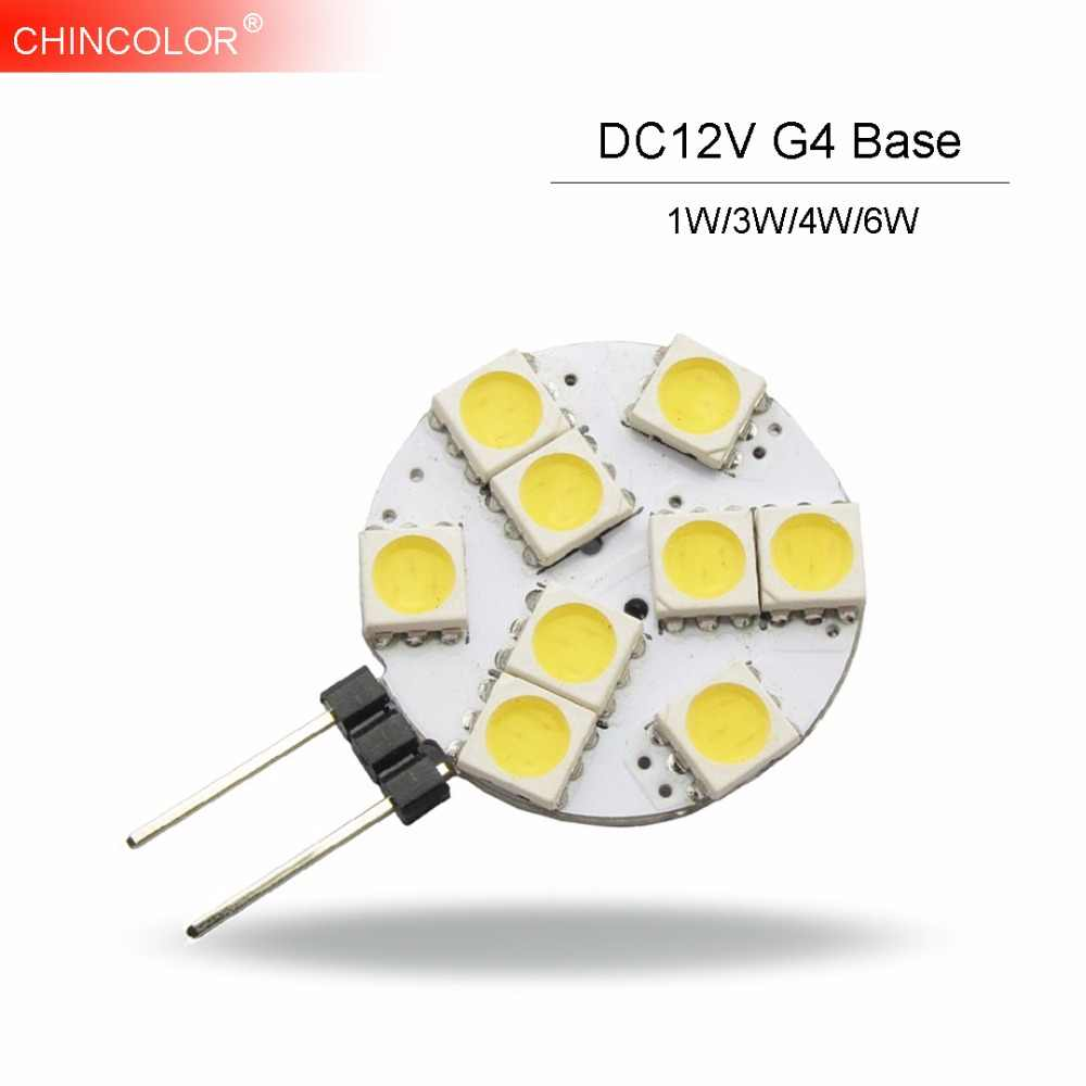 1W/3W/4W/6W Led Light Lamp Bulb DC 12V G4 Base SMD 5050 Chip 360 Degree Warm White Car Marine Camper RV Fast Ship HL