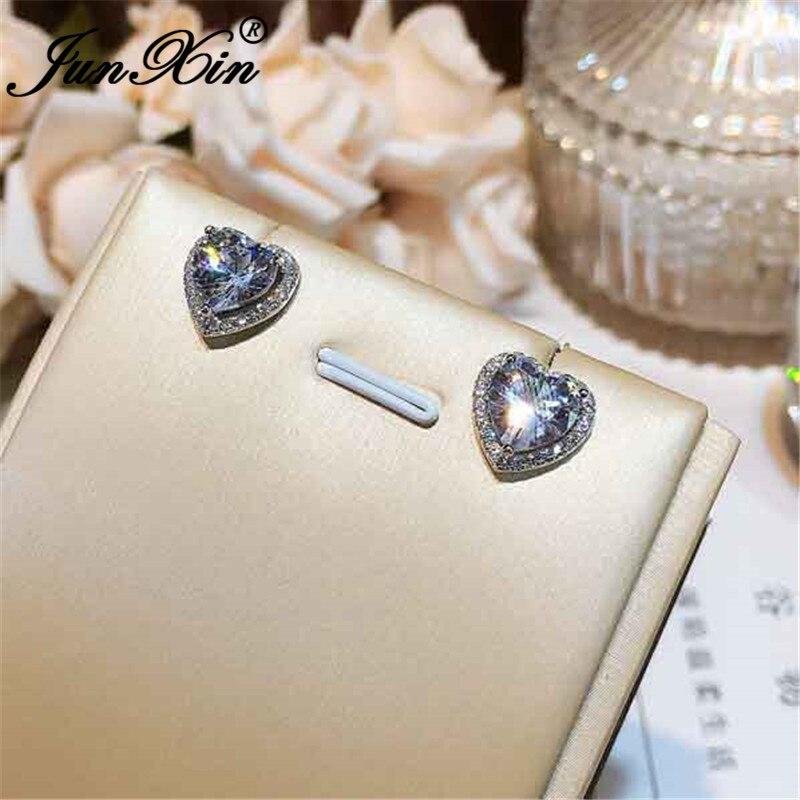 JUNXIN Girls Cute Heart Stud Earrings For Women White Gold Filled Brilliant White Zircon Austrian Crystal Wedding Studs