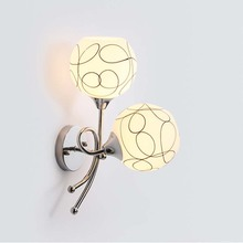 BOKT Glass Wall Light Modern minimalist For Living Room Bedroom Bedside Lamps Flowers Style E27 LED Double Heads Lamp