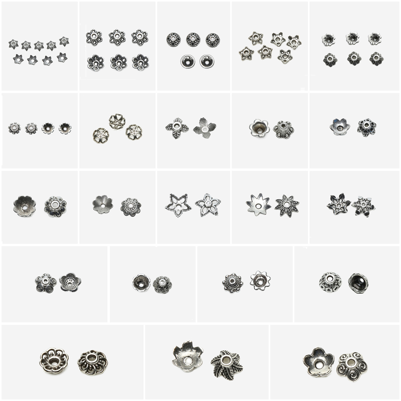 цена на Free Shipping 50Pcs / Lot European Zinc Alloy Antique Silver Bead Caps for Bracelet Making EC4