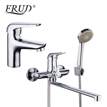 FRUD Chrome Plating Basin Faucet Bathroom Mixer Zinc Alloy Outlet Pipe Shower Faucet Bathtub Shower Head Cold and Hot Tap Home single handle shower faucet mixer water tap bathroom shower basin faucet shower hand copper shower basin faucet hot and cold