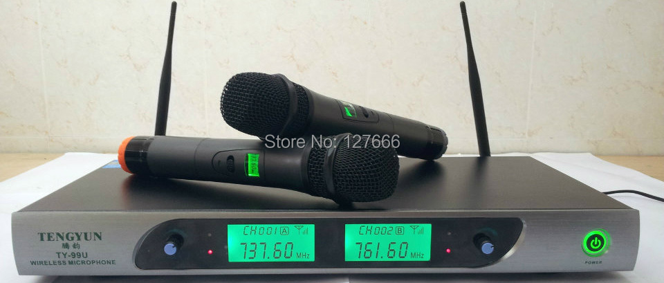 Hot Sell free shipping Professional Ktv Wireless font b Microphone b font System dual two channels