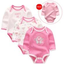Костюм для новорожденных девочек из 4 предметов, зимняя одежда, боди, хлопковый комплект одежды с длинными рукавами и принтом для новорожденных мальчиков