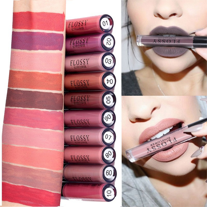 1pcs Women Makeup Waterproof Batom Tint Lip Gloss Red Velvet True Brown Batom Matte Lipstick 10