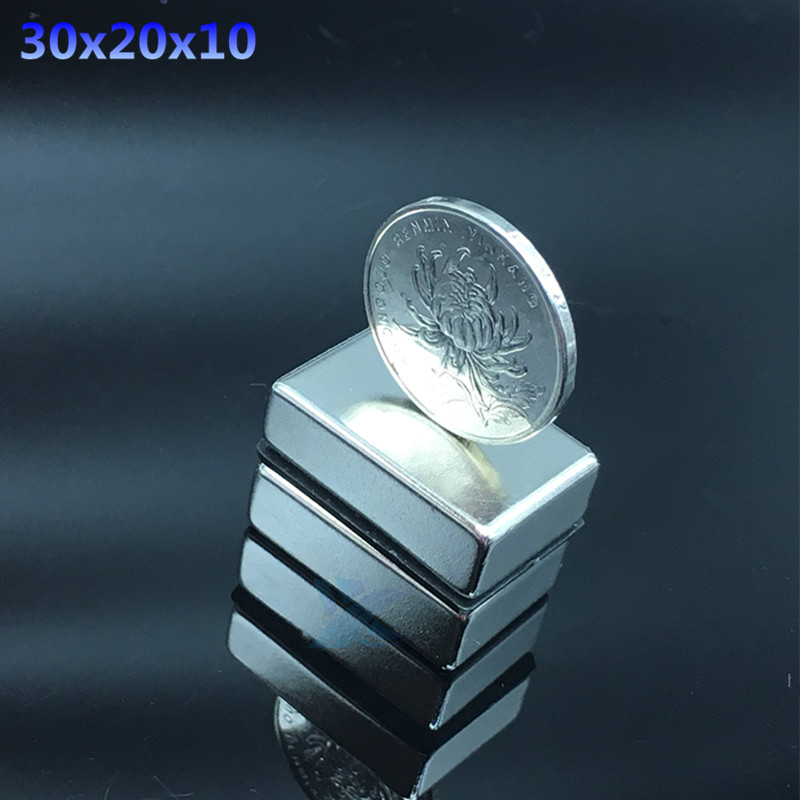 2pcs Neodymium magnet 30x20x10 Rare Earth Strong block permanent 30*20*10mm fridge Electromagnet NdFeB nickle magnetic square 1pcs neodymium magnet 30x10 mm rare earth super strong round permanent powerful 30 10mm fridge electromagnet ndfeb magnetic
