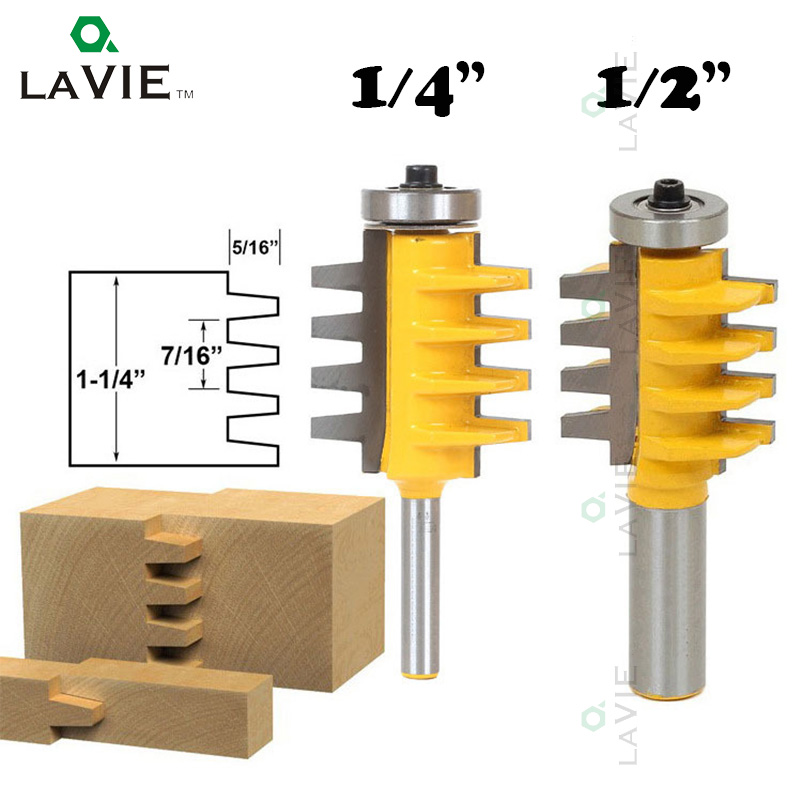 LA VIE 1/2 1/4 Shank Finger Joint Glue Router Bit Milling Cutter Mortaise Tenon knife Cone Woodwork Cutters Power Tools 01022