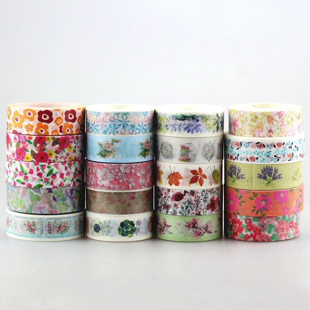 DHL free shipping Cute Kawaii 100pcs / Lot Tape Flowers Scrapbooking DIY Decorative Adhesive Japanese Washi Paper Tape For Gift