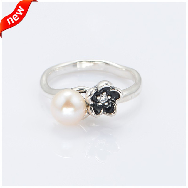 Fits European Style 925 Sterling-Silver-Jewelry Rings for Women Floral Silver Ring with Black Enamel and CZ Fandola Jewelry R020