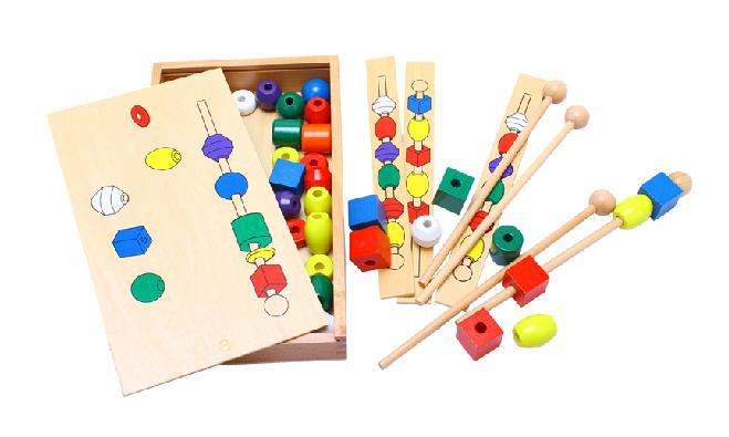 ФОТО  ! Montessori Block Toys Bead Sequencing Set Toy Wooden Educational Building Blocks