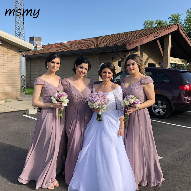 Country   Bridesmaid     Dresses   Hot Chiffon Appliques Cap Sleeves V Neck Floor Length Maid of Honor Gowns