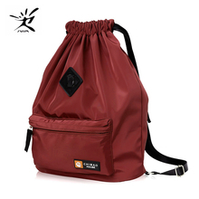 Drawstring Bag Fashion Earphone Hole Nylon for Holiday Gift Gym Yoga Fitness Sports Travel Girls Student School Backpack