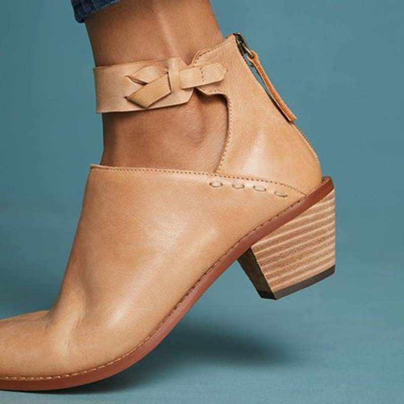 HEFLASHOR Kadın Retro PU Deri Faux Süet Çizmeler Günlük Tıknaz Topuk Ayakkabı Zip Nefes Kadın Konfor Ayakkabı sapato feminino