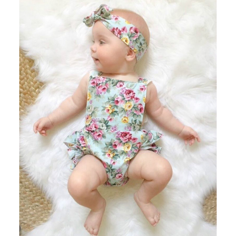 Cute Floral Baby   Romper   2018 Ruffles Lace Jumpsuit Newborn Baby Girls Bow Sunsuit Outfits Children Clothes 0-24M