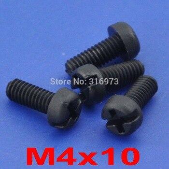 (1000 pcs/lot ) M4x10mm Black Nylon Phillips/Slot Pan Header Screw.