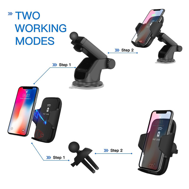 FDGAO Qi Car Wireless Charger For iPhone X 8 Xs Max Xr Samsung S8 S9 Automatic Infrared Sensor 10W Fast Wireless Charging Holder