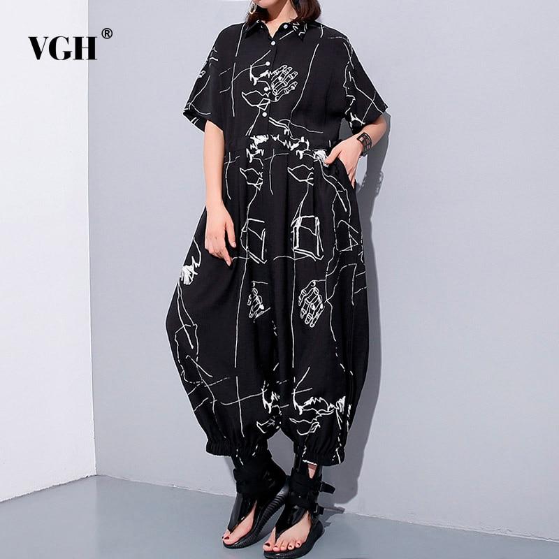 VGH Loose Oversize Womens Jumpsuit Black Turn Down Collar Short Sleeve High Waist Finger Print Ankle Length Jumpsuits For Women