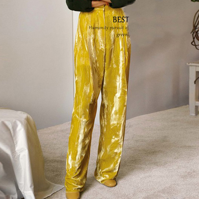 [CHICEVER] Spring Velvet High Waisted Loose Long Wide Leg Pants Women New Trouser Fashion Clothing 3 Colors