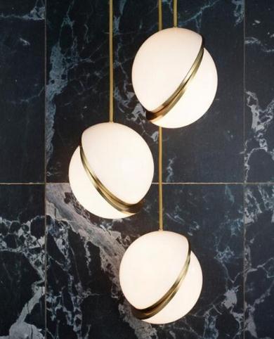 Nordic современный круглые шарики подвесные светильники творческий круглая луна латунь подвеска подвесной светильник для столовой гостиной ...