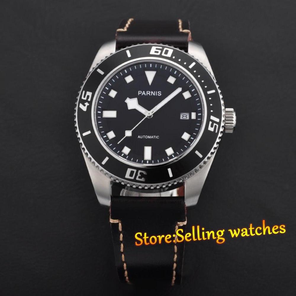 43mm Parnis Sapphire Glass MIYOTA 821A Automatic Movement Date Men s Watch