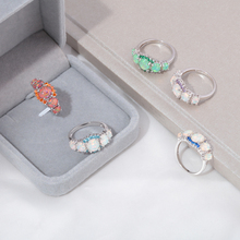 Silver Plated Oval Round Stone Luxe Fire Opal Ring