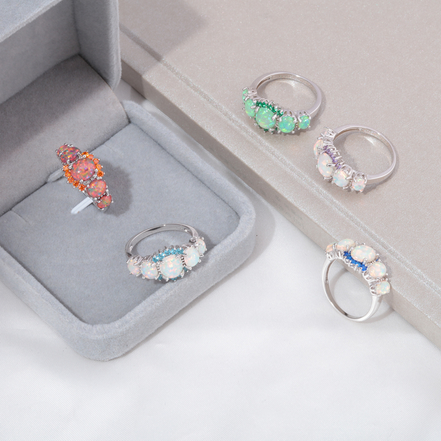CiNily 5 Colors Luxe Fire Opal Ring Silver Plated Oval Round Stone Finger Ring Blue Full Crystal Vintage Jewelry Gift for Women
