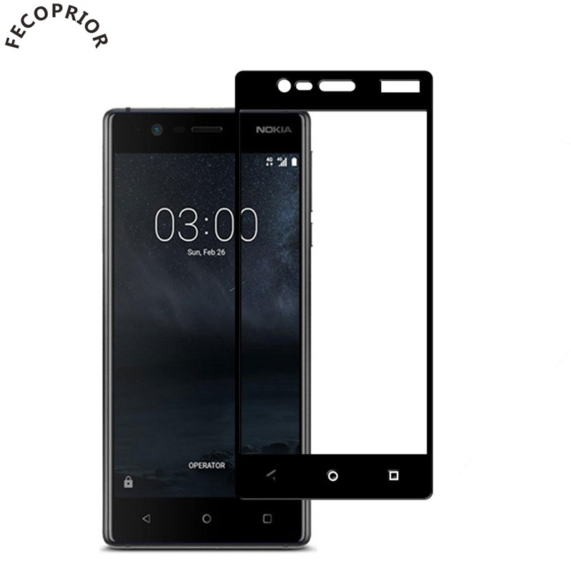 Fecoprior Nokia3 Tempered Glass For Nokia 3 NK3 Screen Protector Full Cover Edge Toughened Protective Glass Film
