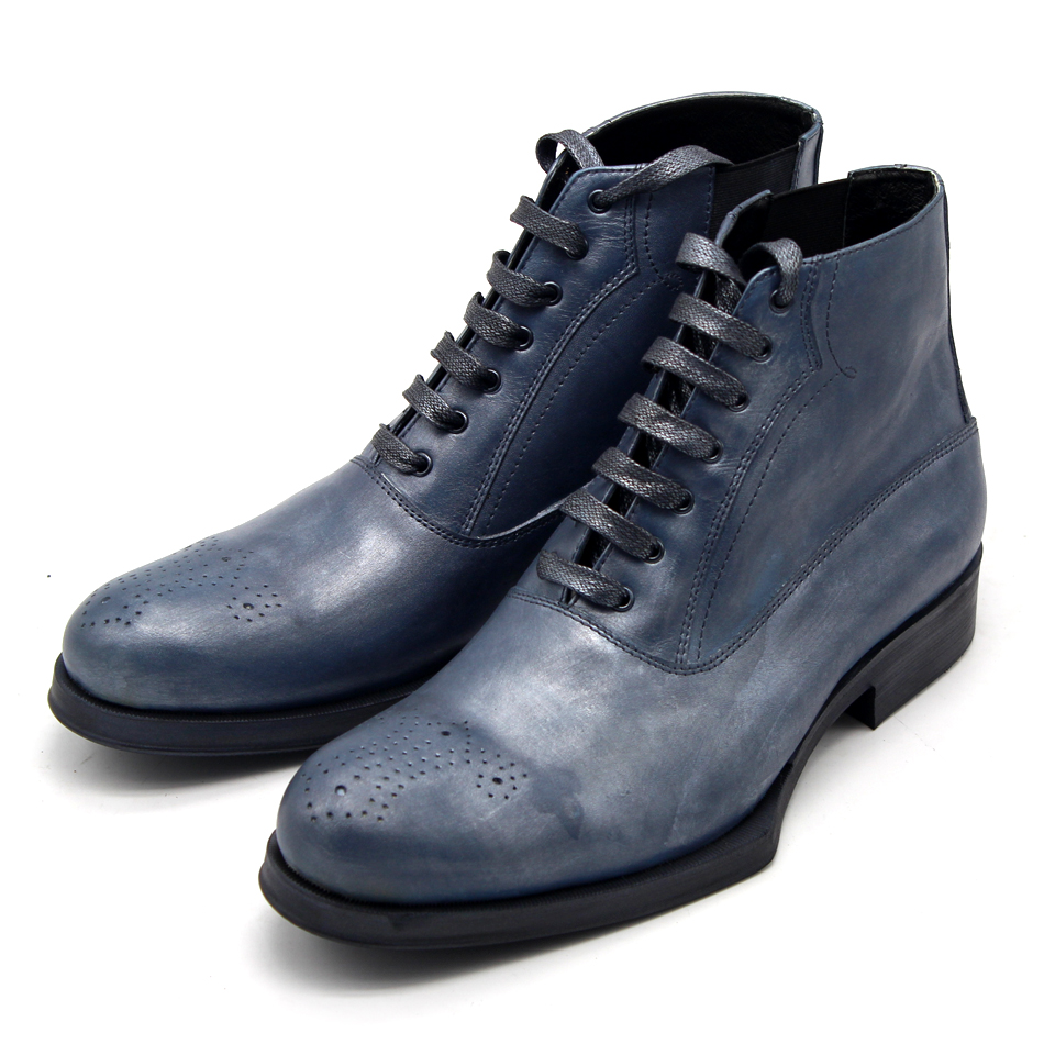 Newest Handmade carved geometric lace up short booties men blue/green color casual style real leather boots free shipping