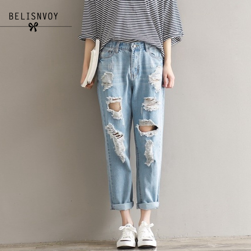 2018 Boyfriend   Jeans   For Women Denim Pants Femme Trousers Holes Slim Fit Plus Size S-3XL Loose England Style Ripped   Jeans   Mujer