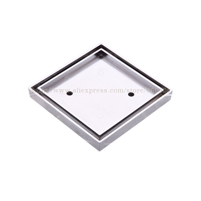 15 x 15cm Square Bathroom Brass Shower Drain Floor Drain Trap Waste Grate Chrome Invisible Drainer euro square antique brass art carved flower bathroom sanitary floor drain waste grate