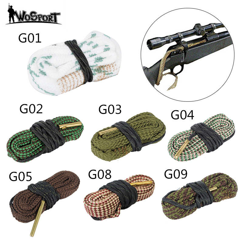 Hunting Gun Bore Cleaner Snake.22 Cal.223 Cal.38 Cal& 5.56mm,7.62mm,12GA Rifle Cleaning Kit Tool Rifle Barrel Calibre Snake Rope