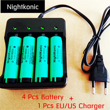 Nightkonic 4 PCS/LOT 18650 battery  3.7V Li-ion Rechargeable Battery 18650B Flat top Green + 1 PCS (EU/US) slot Charger