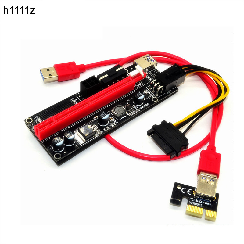 009 S Pci-e 1x Zu 16x Slot Riser Card Extender Pci Express Adapter Usb 3.0 Kabel 4pin Dual 6pin Power Versorgung Für Btc Miner Bergbau