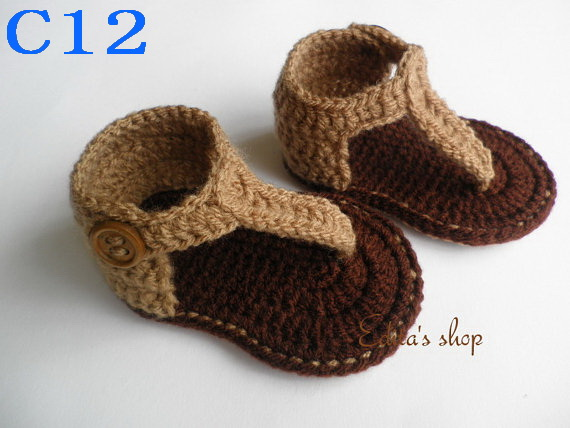 Crochet Baby Sandals, Baby Brown Flip Flops, Knitting Baby Shoes, Baby shoes Sizes 0-12 Months,150pair/lot Free Shipping