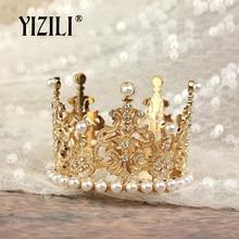YIZILI New Girls Small Size pearl Tiara Crystal Flower Crown Tiaras Party Mini Tiara Wedding Hair Accessories Jewelry C052