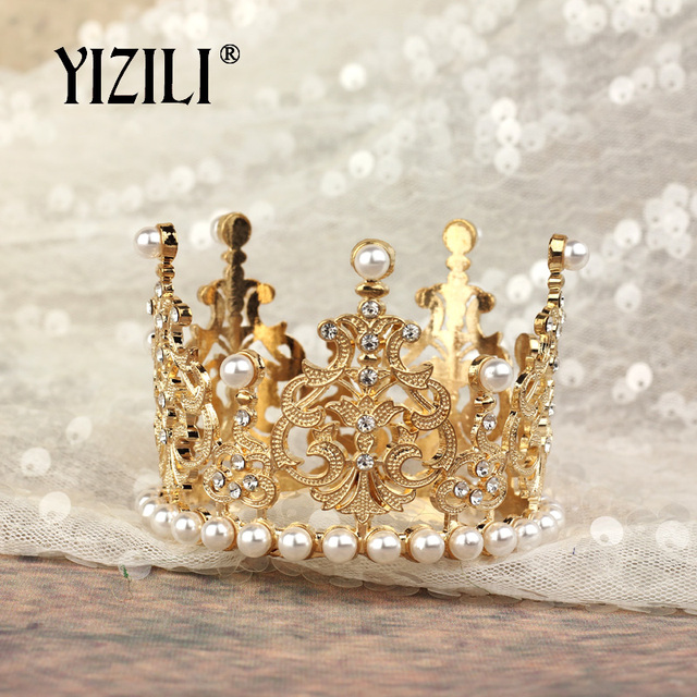 YIZILI New Girls Small Size pearl Tiara Crystal Flower Crown Tiaras Party Mini Tiara Wedding Hair Accessories Jewelry C052