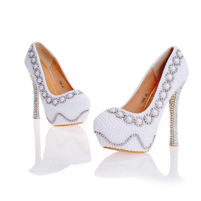 ФОТО 2017 Designer Pearl Shoes in White and Ivory Wedding Party High Heel Shoes with Silver Rhinestone Luxurious Prom Pumps Plus Size