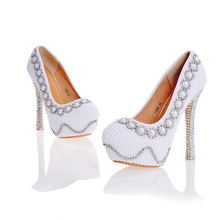 2017 Designer Pearl Shoes in White and Ivory Wedding Party High Heel Shoes with Silver Rhinestone Luxurious Prom Pumps Plus Size