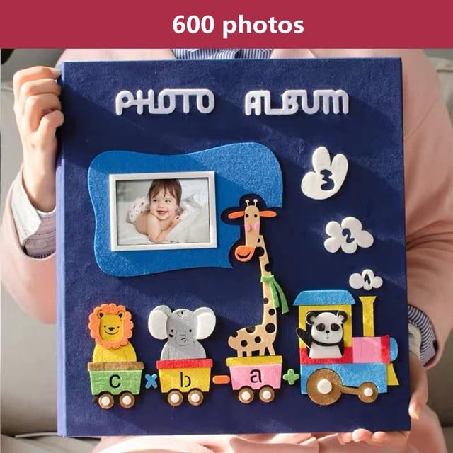 6 inch Album ảnh 600 bức ảnh trang loại trẻ em họ Album sáng tạo cảm thấy dán hoạt hình bao bé phát triển Album