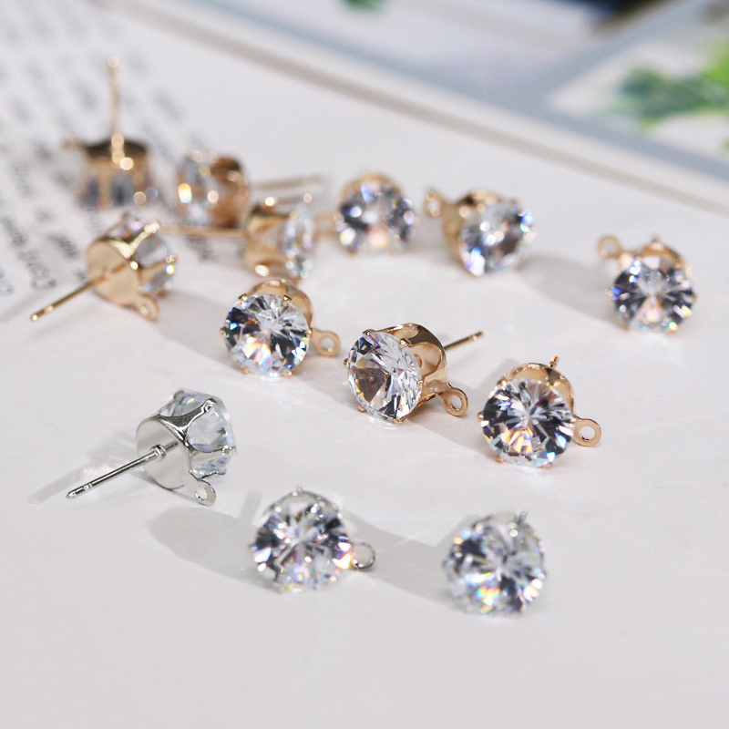 Sale 6 8mm 10Pcs Silver Zircon DIY Earring Women Findings With Hole Crystal Ear Stud Drop Handmade Jewelry in Jewelry Findings Components from Jewelry Accessories