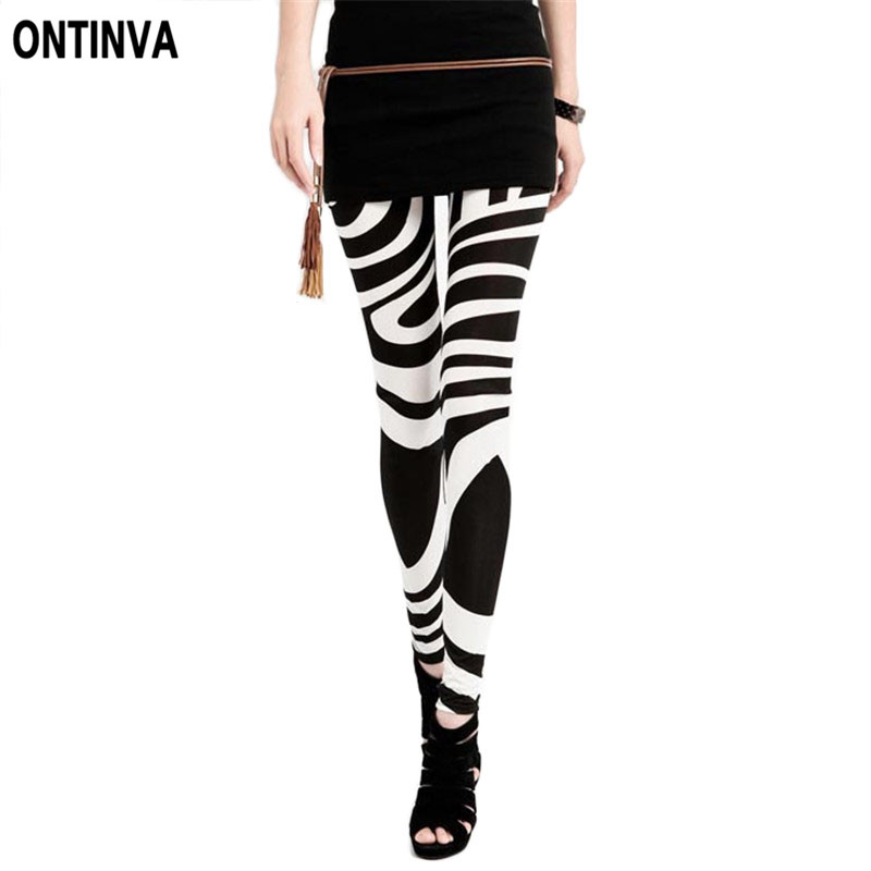 Black White Striped Leggings For Women Plus Size Xxl -5505