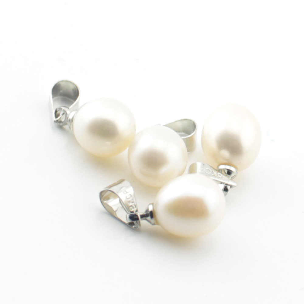 TEVIDA Oval Nature Freshwater Pearl Beads Pendant DIY for Jewelry Making Earring Chain Necklace Wholesale