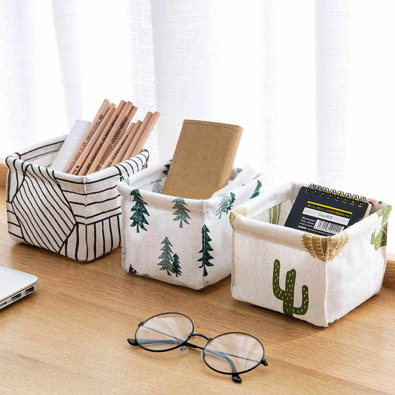 Foldable Sundries Storage basket Cute Printing Cosmetics Container Multifunction Cotton Linen Storage Basket Desktop organizer