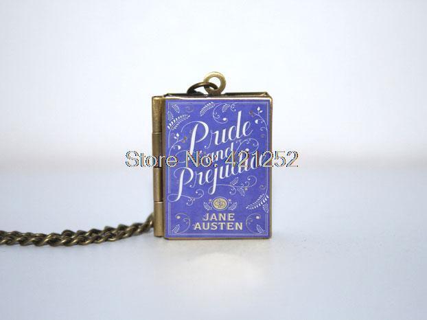 Orgulho e preconceito livro medalhão colar, Bronze tone