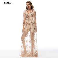 YeWen V neck See through Leg Long Sleeve Evening Dresses Straight Elastic Sequin Long Prom Dress 2019 Party Gowns Gold/Burgundy