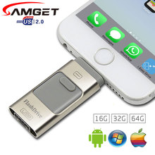 Samget 3 в 1 Micro USB 2.0 Металл Ручка Привода OTG USB Flash Drive Для iphone 5/6/6 plus/7/ipad/Samsung Pendrive 8 Г 16 ГБ 32 ГБ 64 ГБ