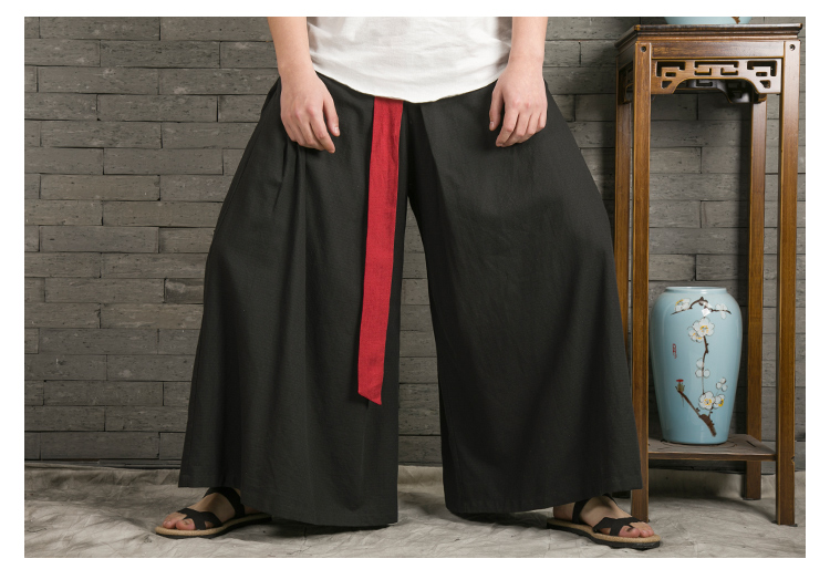 Sinicism Store 2020 Japanese Wide Leg Pants Men Streetwear Casual Cotton Linen Man Sweatpants Summer Chinese Style Male Joggers 42