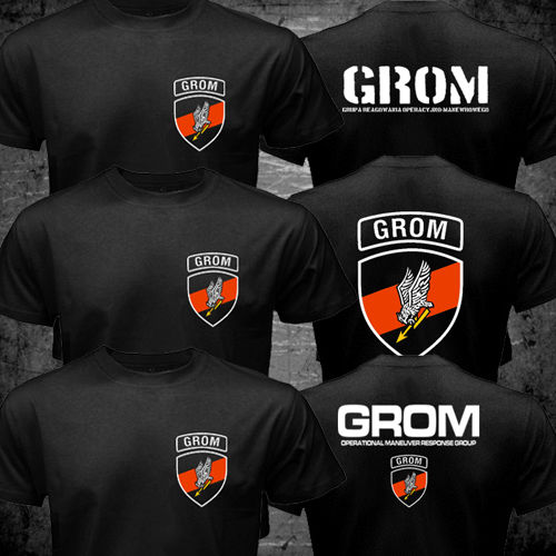 Thunder JW GROM Polen Special Force Unit Army Counter Terrorist T-shirt män två sidor Casual tee USA storlek S-3XL