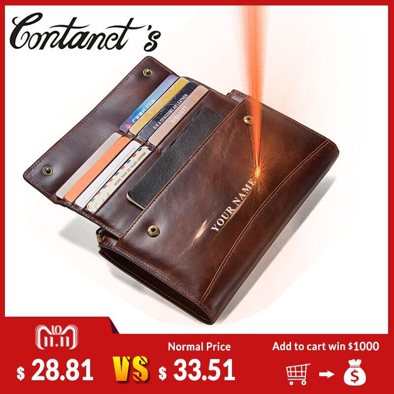купить Crazy Horse Genuine Leather Men Wallet Zipper Coin Purse and Card Male Clutch Bag For Cell Phone Brand Designer Long Wallets по цене 2143.88 рублей