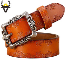 Vintage Pin Buckle Genuine Leather Belts for Women Fashion Floral Cow Skin Ladies Girdle Wide Female Strap Jeans Width 3.2 Cm