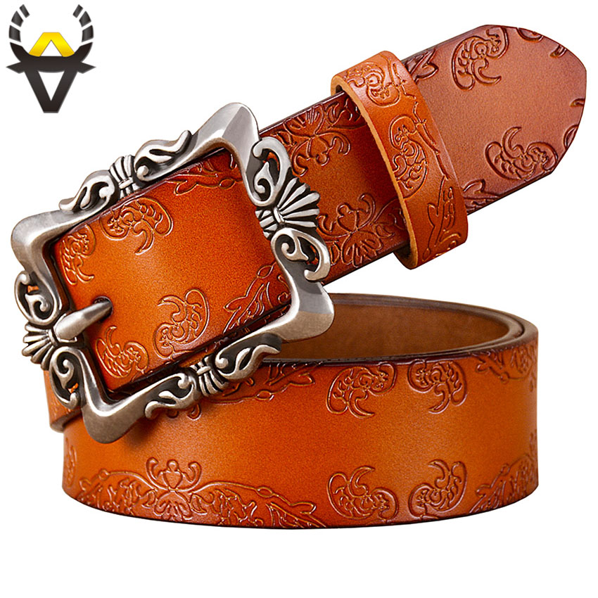 Vintage Pin Buckle Genuine Leather Belts For Women Fashion Floral Cow Skin Belt Woman Wide Female Strap For Jeans Width 3.2 Cm